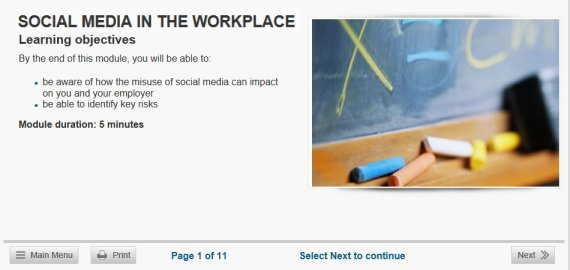social media in the workplace online training
